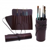 Leather Travellers Brush and Tool Roll