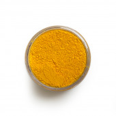 Tartrazine Yellow pigment in a 15 ml jar.