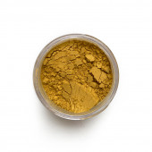 Yellow Ochre pigment in a 15ml jar.